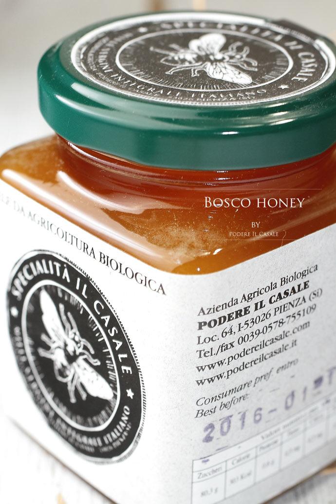 ハチミツ・ボスコ (森の樹液の蜂蜜) ポデーレ・イル・カッサーレ社 イタリア・トスカーナ産 (Italian honey Bosco by Podere il casale)