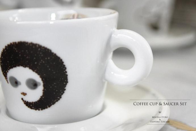 コーヒーカップ&ソーサーのセット オリビエロ・トスカーニ (Oliviero Toscani) デザイン ミシェラドーロ社 イタリア産