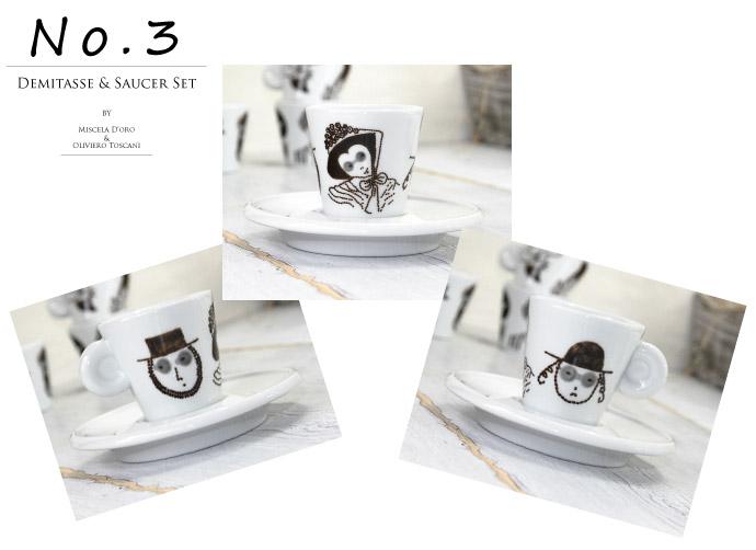 デミタスカップ&ソーサーのセット オリビエロ・トスカーニ (Oliviero Toscani) デザイン ミシェラドーロ社 イタリア産