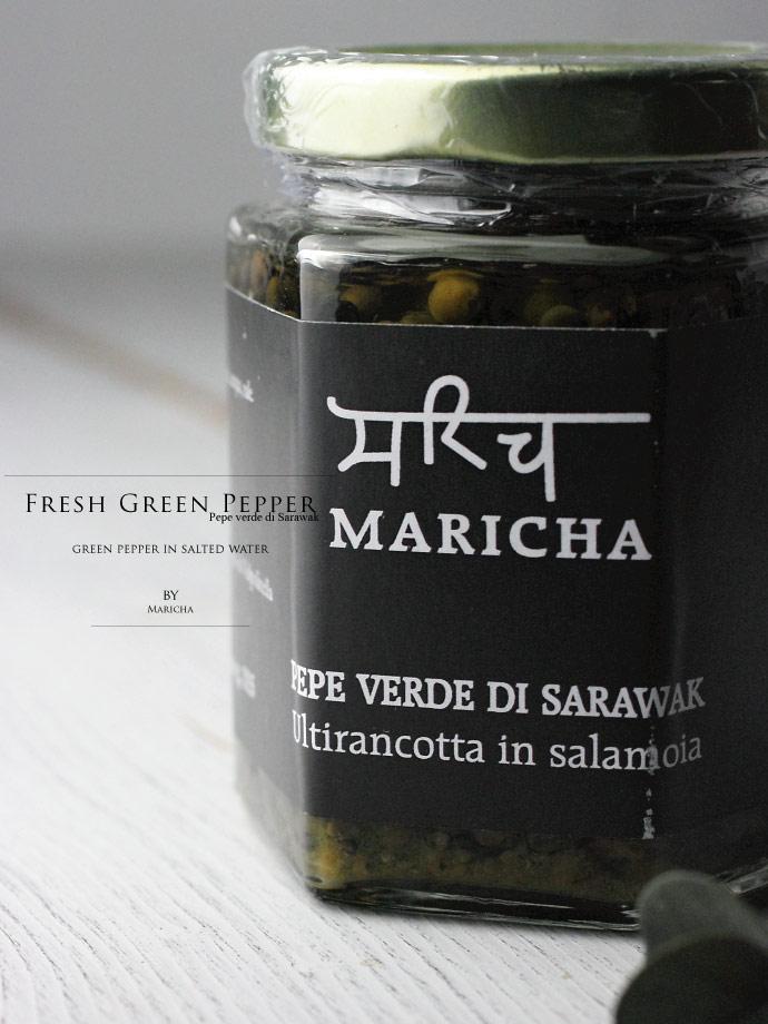 グリーンペッパーの塩水漬け マリチャ社 イタリア産 (Italian Green Pepper preserved in salt water by Maricha)