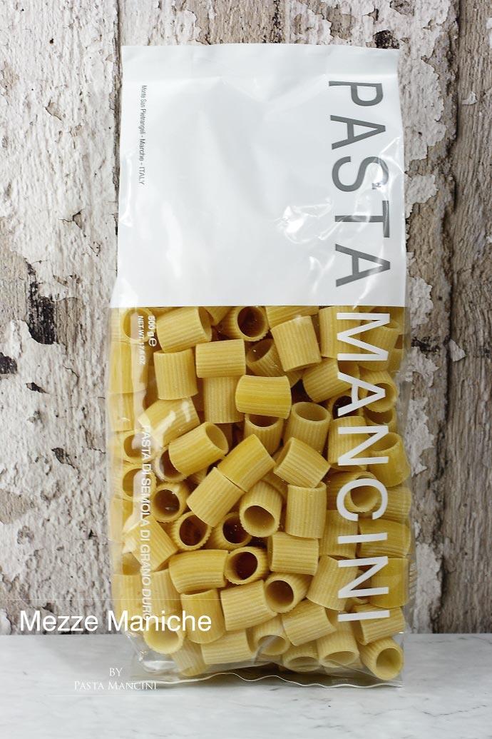メッツェマニケ パスタマンチーニ社 イタリア産 (Italian Mezze Maniche by Pasta Mancini)