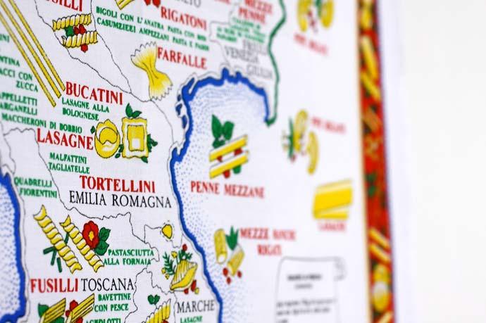 イタリア・Conti社タペストリーイタリアマップ: パスタ