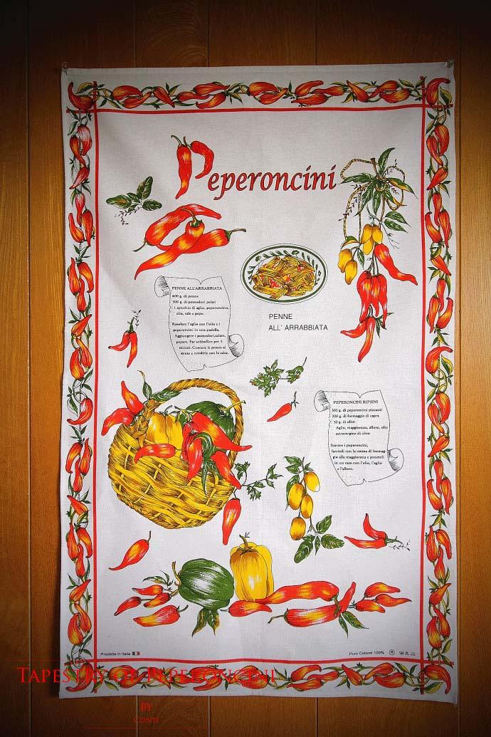 ペペロンチーニの使い方・タペストリー  コンティ社 イタリア産 (Italian Tapestry of Peperoncini by conti)