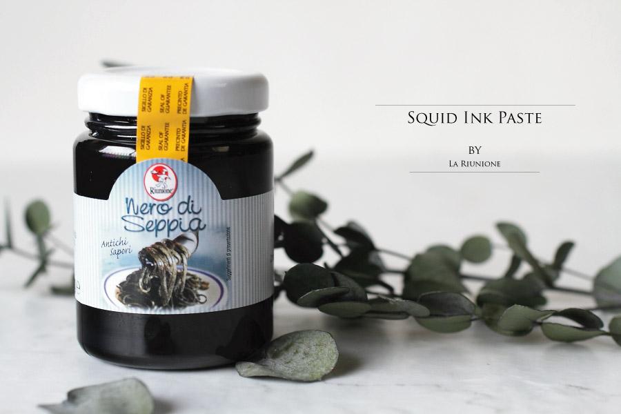 地中海で取れたイカのイカスミのペースト ラ リウニオーネ社 (Squid ink paste from Mediterranean by La Riunione)