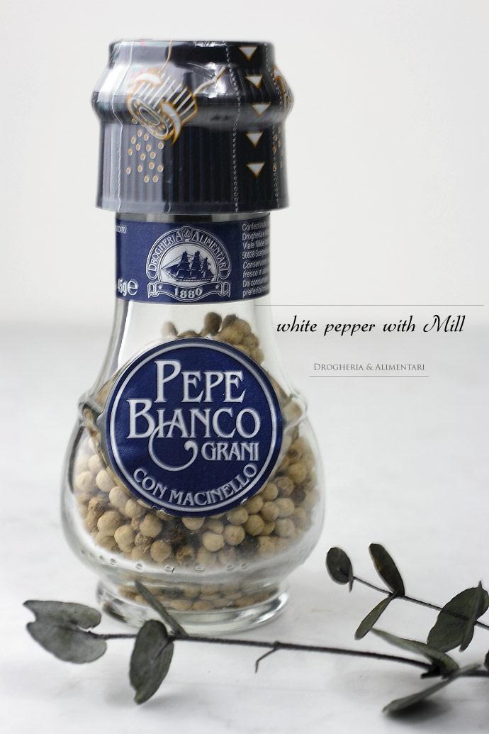ホワイト ペッパー 45g ミル付き ドロゲリア アリメンターレ社 イタリア産 (Italian white pepper by DROGHERIA & ALIMENTARI)